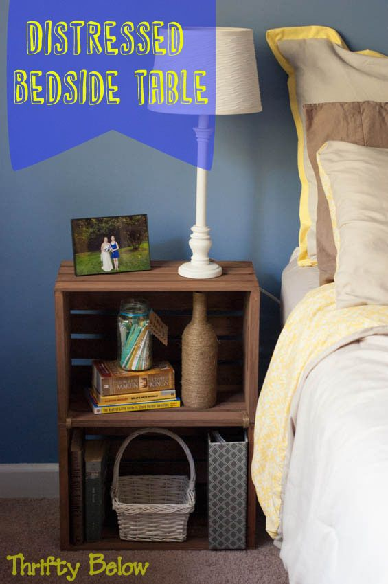 Distressed Bedside Table Tutorial   Thrifty Below
