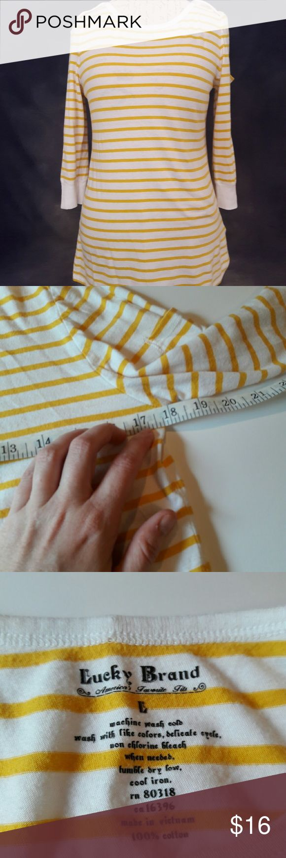{Lucky Brand} striped shirt In perfect condition. Super cute yellow and white striped shirt. Has 3/4 length sleeves. Has a cute tiny pocket on one of the sleeves. Measurements provided in pics above. From a smoke and pet free home. Fast shipping! Bundle and save! Lucky Brand Tops Tees - Long Sleeve