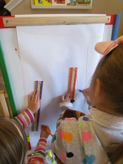 Neighborhood under construction in preschool | Teach Preschool  blue prints on easel....community/how house is built
