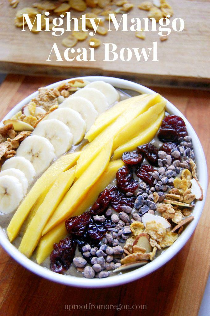 Mighty Mango Acai Bowl - Packed with acai pulp, mango chunks, banana, avocado, and spinach.   Uproot from Oregon #vegan