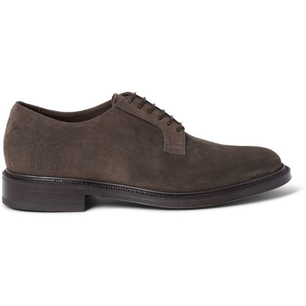 Brioni Suede Derby Shoes (1,975 CAD) ❤ liked on Polyvore featuring men's fashion, men's shoes, mens suede derby shoes, mens suede shoes, mens brown derby shoes, mens brown suede shoes and mens derby shoes