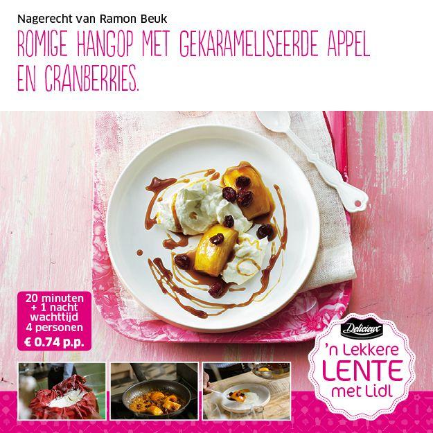 Recept voor romige hangop met gekarameliseerde appel en cranberries #Lidl #Pasen #Dessert