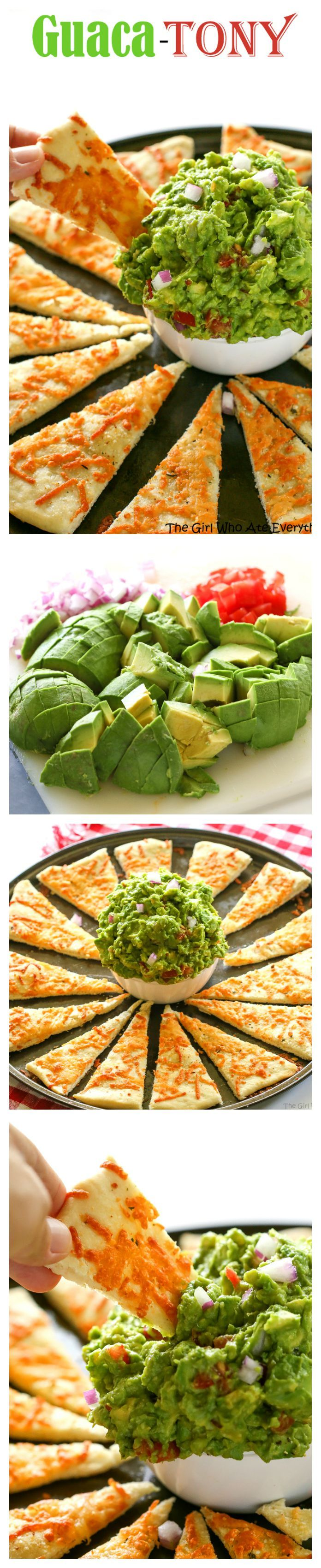 An Italian guacamole made with basil, garlic, avocado, red onions, and tomato. Instead of chips, super thin pizza crust strips are used. A knock-off from one of our favorite restaurant appetizers.