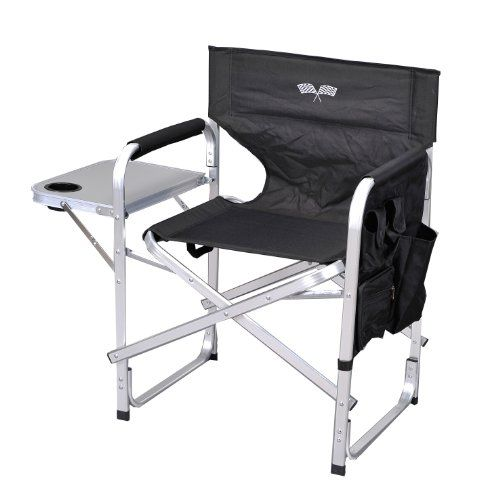Stylish Camping SL1204BLACK/FLAG Full Back Folding Director's Chair. For product & price info go to:  https://all4hiking.com/products/stylish-camping-sl1204black-flag-full-back-folding-directors-chair/