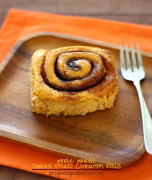 Sweet Potato Cinnamon Rolls... with some whole wheat snuck in. Soft and pillowy and soooo amazing. :)