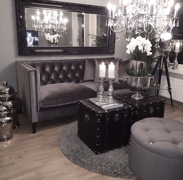 Black and silver grey lounge. Find more black and silver living room ideas  here: