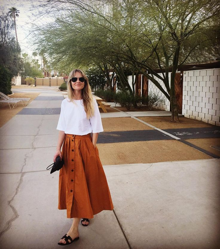 Modest outfit with rust orange color button-front midi skirt