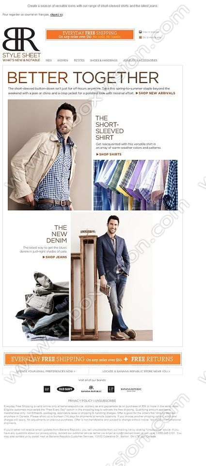 Company: Banana Republic (Canada)   Subject: Spring's all-around best shirt + a new take on denim         INBOXVISION, a global email gallery/database of 1.5 million B2C and B2B promotional email/newsletter templates, provides email design ideas and email marketing intelligence. www.inboxvision.c... #EmailMarketing  #DigitalMarketing  #EmailDesign  #EmailTemplate  #InboxVision  #SocialMedia  #EmailNewsletters