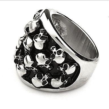 mænds titanium stål kraniet mønster ring (købe 1 få 1 gave) – DKK kr. 46