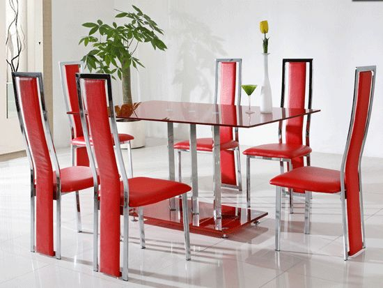 Red Dining Room Table Glass Design