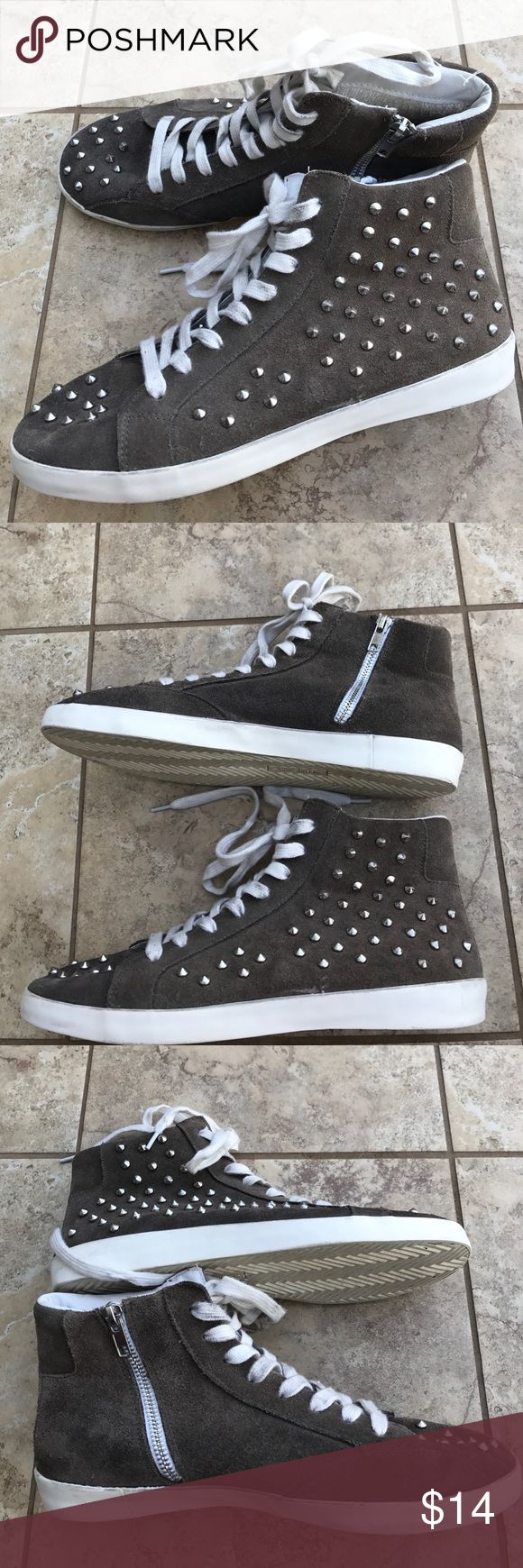 Leather Studded Sneakers Size 9, easy zip on/off design, pre-loved and in good shape. For me they need a pair of insoles to make them more comfy - but they are so cool! (I have no brand name) Shoes Sneakers