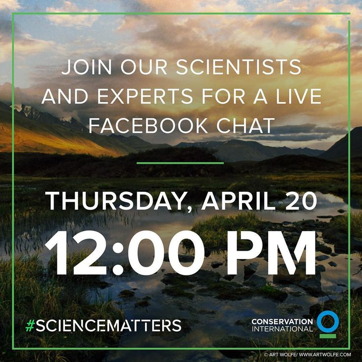 Tune in to @ConservationOrg's Facebook Live event on April 20 at 12pm ET for a chance to ask our scientists and experts your questions about why #ScienceMatters (link in bio). #science #scientist #expert #q&a #question #facebooklive