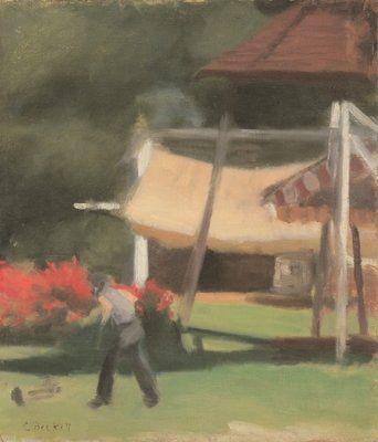 Clarice  Beckett (1887 – 1935) Hawthorn Tea Gardens, c.1933