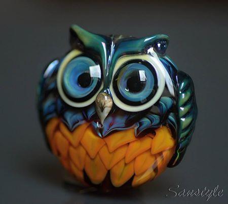 Saša Nejezchlebová Owl Lampwork Art Glass Focal Bead♥♥