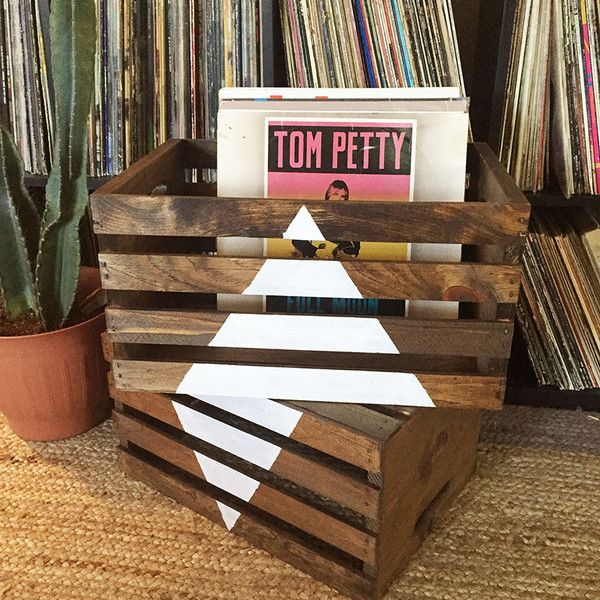 Lightweight and sturdy, this wooden crate that can be used for a variety of storange and display purposes. Great storage for vinyl, books, blankets, or makes a