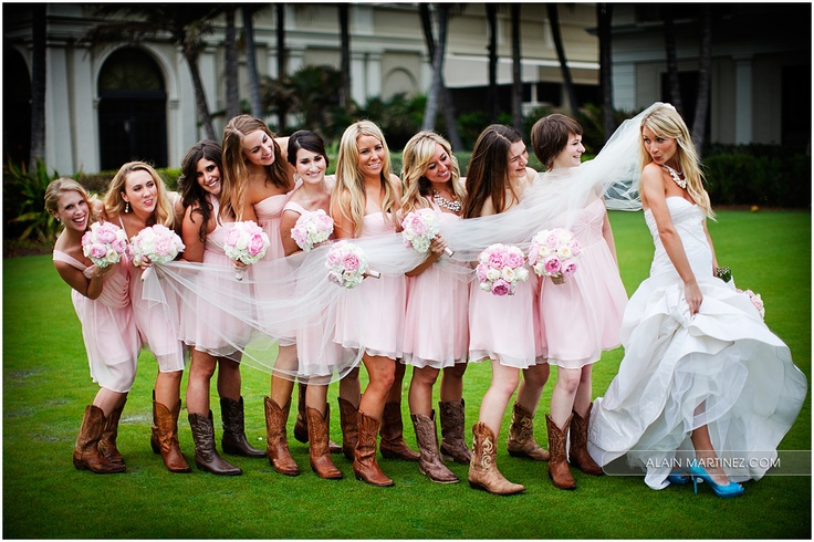 Cowboy Boots Pink Bridesmaids Dresses And A Stunning Bride Oh My