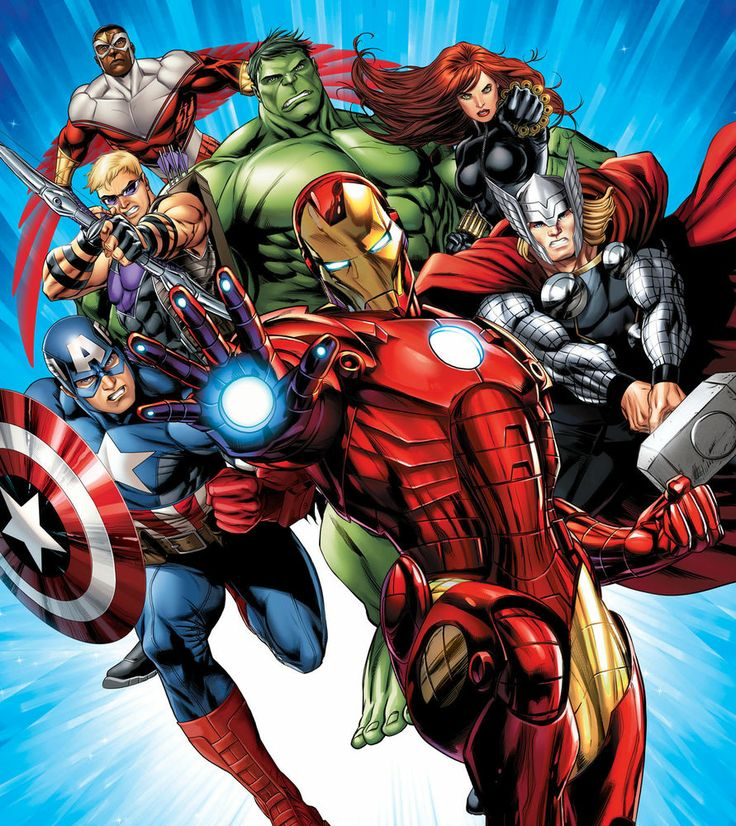 Marvel avengers photo wallpaper childrens wall mural for Avengers wallpaper mural
