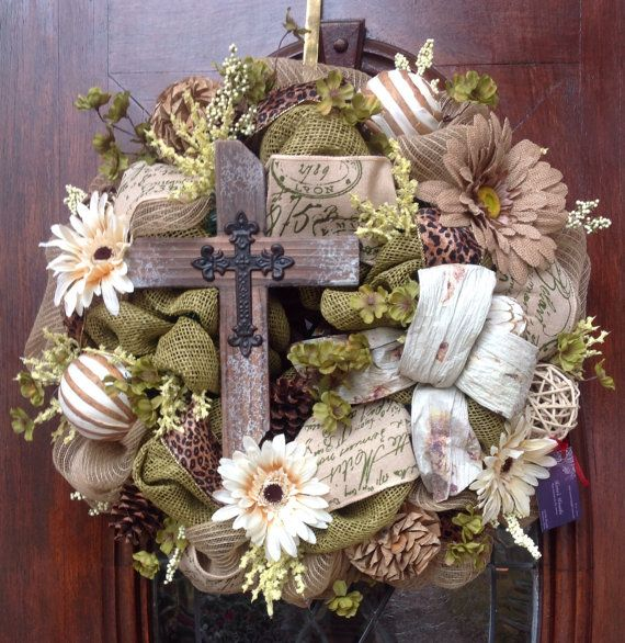Rugged Cross Burlap and Mesh Wreath by HertasWreaths on Etsy, $155.00