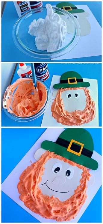Puffy Paint Leprechaun Craft - Fun st. patrick's day art project for kids!   CraftyMorning.com