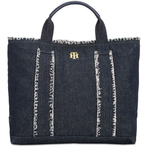 Tommy Hilfiger Extra-Large Esme Frayed Tote ($98) ❤ liked on Polyvore featuring bags, handbags, tote bags, denim, tommy hilfiger, tommy hilfiger handbags, handbags tote bags, handbags totes and denim handbags