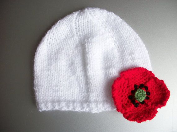 Poppy Hat Hand Knitted Baby Hat 03 36 612 by thekittensmittensuk, $18.00