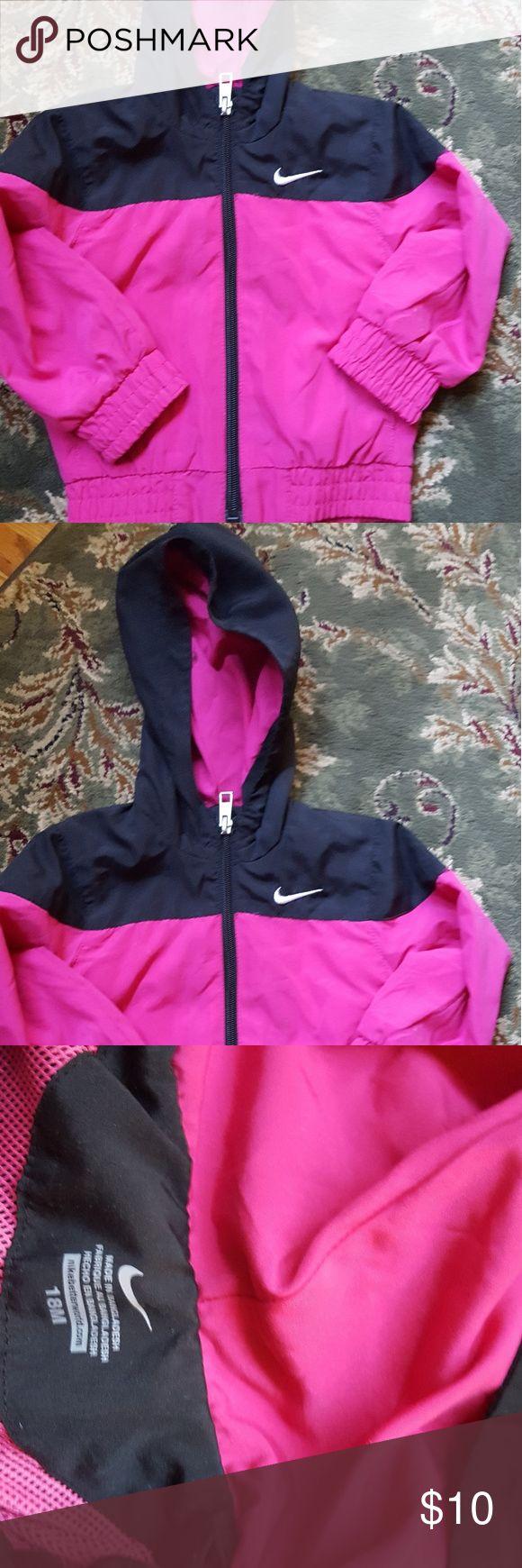 Nike windbreaker Pink and black hooded jacket Nike Jackets & Coats Raincoats