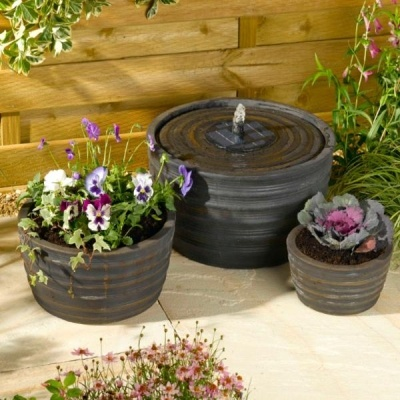 Genoa Solar Fountain And Planter Set (Black Bronze) This Beautiful Water  Feature Would Make