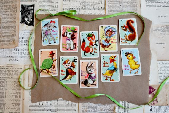 vintage nursery accents | Vintage Nursery Decor Animal Rummy Card by thescreenporch on Etsy