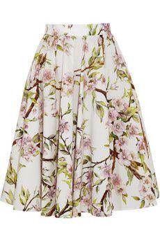 Dolce & Gabbana Floral-print cotton-poplin skirt   NET-A-PORTER