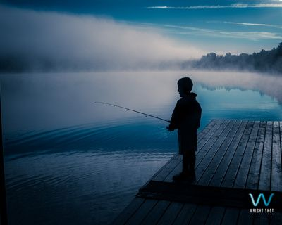 Fishing off the dock at sunrise - Arrowhead Provincial Park - August 29, 2014.