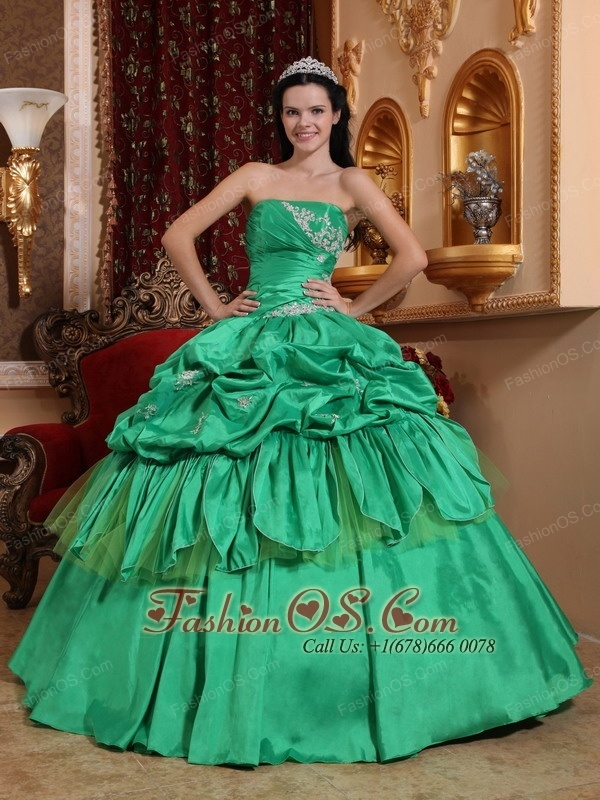 Low Price Apple Green Quinceanera Dress Strapless Taffeta Appliques Ball Gown  www.fashionos.com  Make an entrance in this elegant and romantic strapless ball gown. This one is definitely unique and fabulous! Strapless ball gown has pleated bust and stunning bubble pick-ups on the skirt.Don't be afraid to stand out from the crowd in this gown. You will be amazing on the crowd. The back is fitted with lace up ties