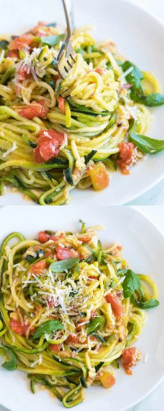 We're in love with this easy zucchini pasta recipe. There's fresh zucchini, tomatoes, basil, parmesan, and lots of garlic. Plus, it only takes 20 minutes to make. Make this with 100% zucchini noodles or swap half of the zucchini for regular spaghetti for a heartier meal.