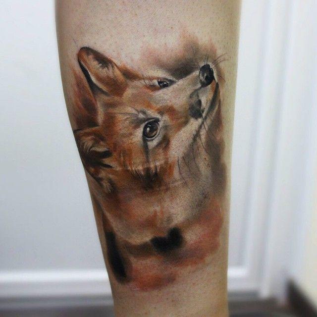 Leg Realistic Watercolor Fox tattoo