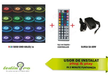 Pack banda LED 5050 smd , RGB , 60LED/M + CONTROLLER +TELECOMANDA +SURSA CURENT