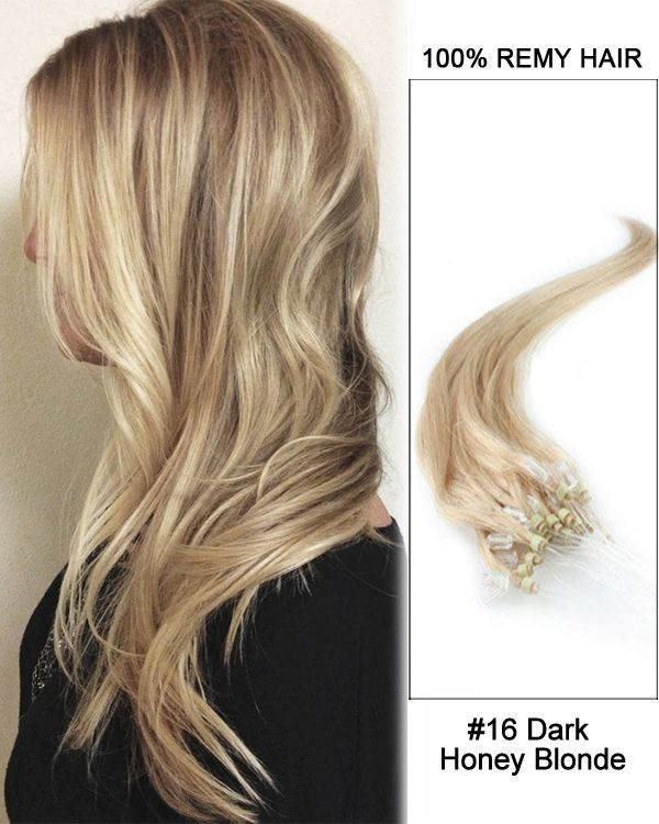 "14"" #16 Dark Honey Blonde Straight Micro Loop 100% Remy Hair Human Hair Extensions-50 strands, 1g/strand"