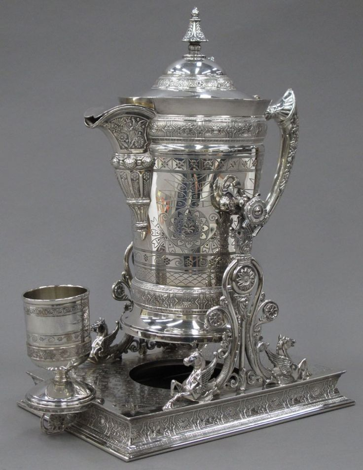 VICTORIAN SILVER PLATED WATER PITCHER on stand providence- Mark L. De Motte, Congressman, and captin in the Civil War