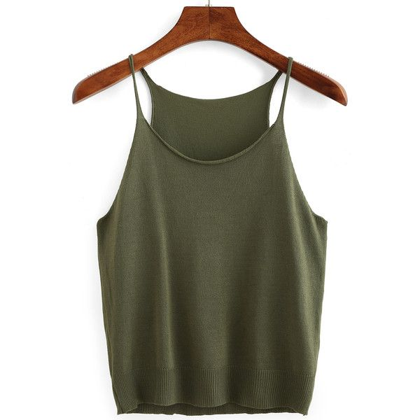 Olive Green Knit Cami Top ($7.99) ❤ liked on Polyvore featuring tops, green, cami tank tops, green camisole, spaghetti strap tank top, green military vest and green tank top