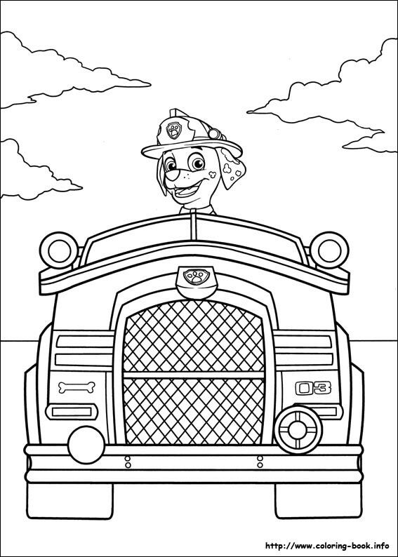 marshal firetruck paw patrol coloring pages - Paw Patrol Coloring Book