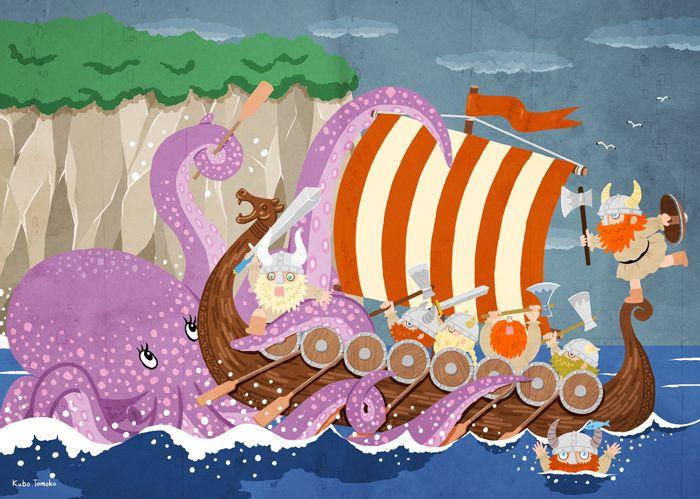 #KuboTomoko #illustration #イラストレーション #Art #アート #Viking #バイキング #sea #海 #たこ #octopus
