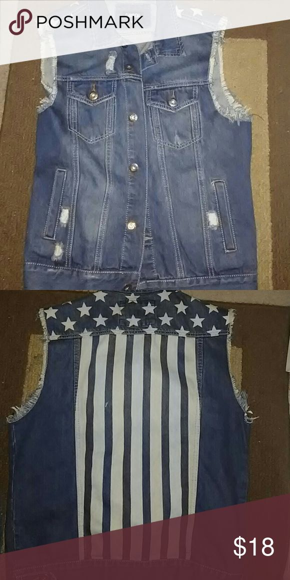 Stars and stripes vest Blue jean vest with stars and stripes on the back Jackets & Coats Vests