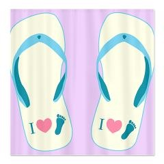Cute shower curtains featuring a flip flop design for girls. These cute shower curtains are perfect for beach lovers.