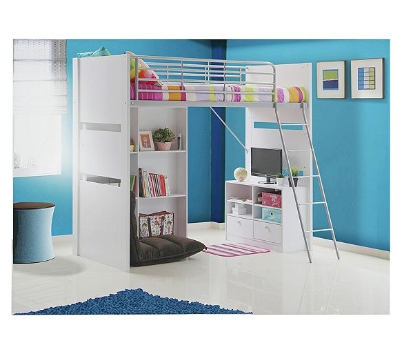 Buy Entertainment Single High Sleeper Bed Frame - White at Argos.co.uk, visit Argos.co.uk to shop online for Children's beds, Children's furniture, Home and garden