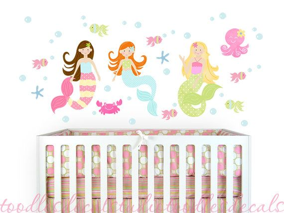 Hey, I found this really awesome Etsy listing at https://www.etsy.com/listing/184591818/mermaid-wall-decals-fabric-girls-kids