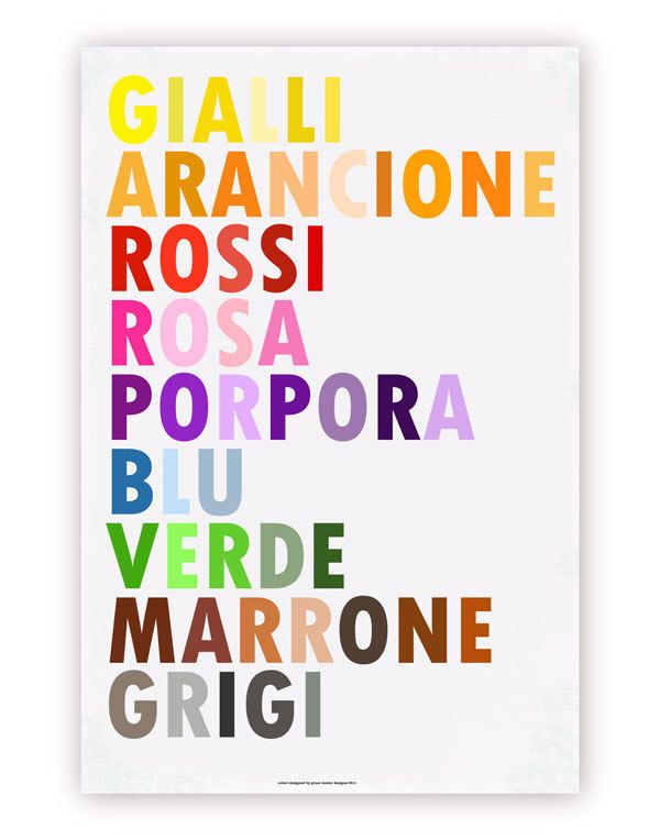 Colors in Italian Poster, I Colori, Large 20 X 30 by gracechiamdesigns on Etsy https://www.etsy.com/listing/77118647/colors-in-italian-poster-i-colori-large