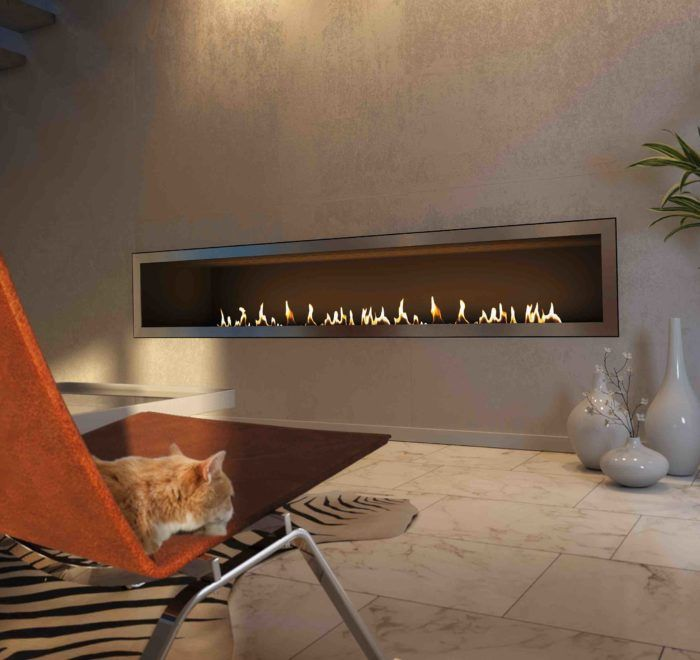 Long bio ethanol fireplace