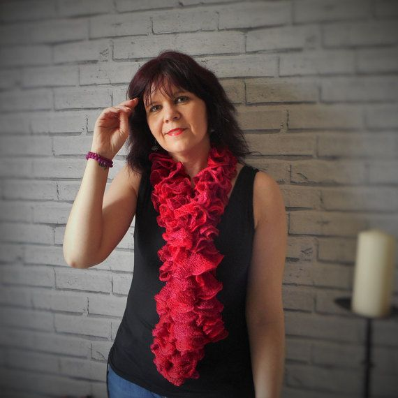Red Sparkle ruffle scarf. Sashay Scarf. Red mesh by KwirkyKnitsUK