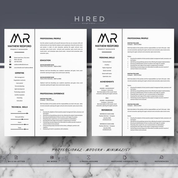 19 best Minimalist Resume \/ CV Templates images on Pinterest - 100 Resume Words