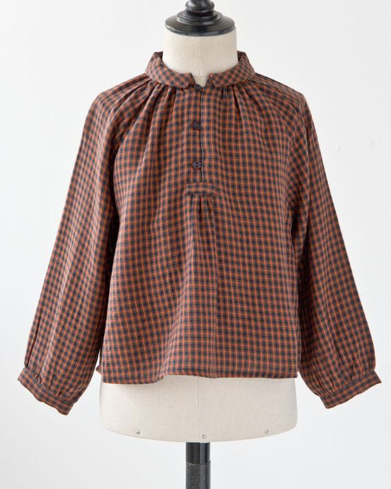 CARAMEL 2017AW キッズ HADDON BLOUSE チェックブラウス(A17OC ORANGE CHECK)3A-6A