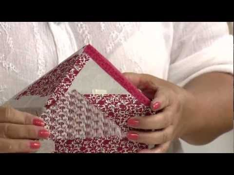 Aprenda a fazer uma linda caixa patch box de cartonagem em tecido para a...