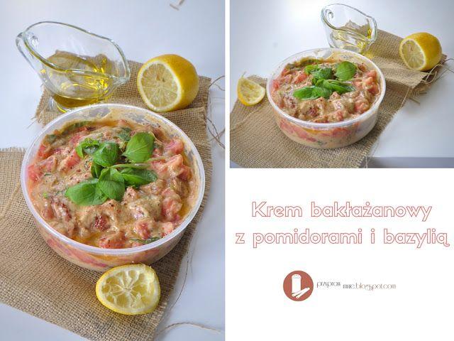 Krem bakłażanowy z pomidorami i bazylią